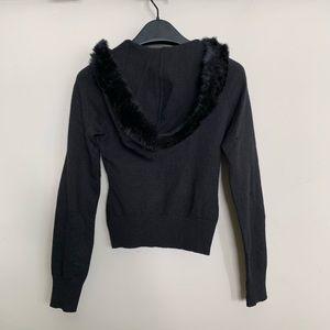bebe Sweaters - Bebe Fur Hoodie Silk Cashmere Cardigan